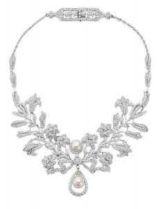 Two beautiful pearls and 17.10 carats of diamonds fashion this Fred Leighton vintage-style necklace from PROVIDENT JEWELRY. providentjewelry.com