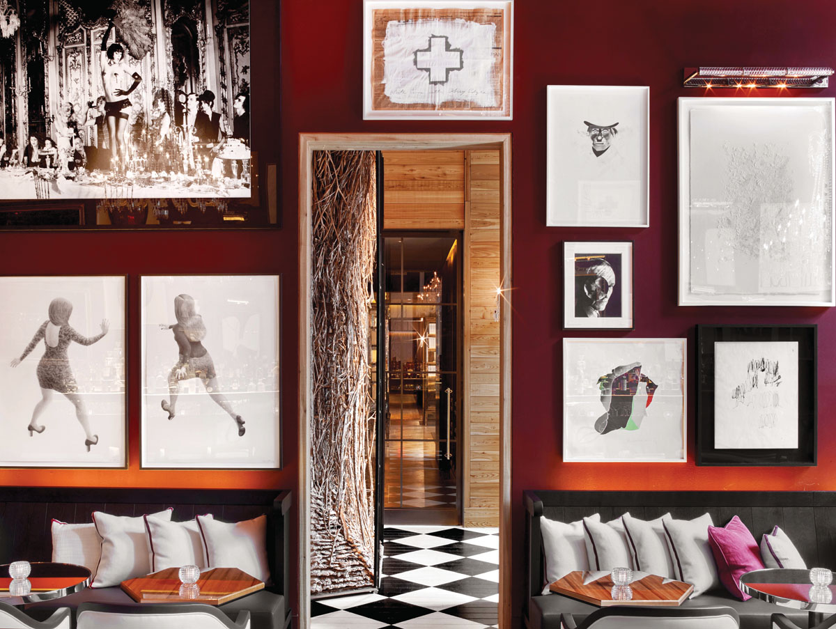 Inspired by the stables of Versailles, The Bar's curated art collection pairs with a sumptuous aesthetic of crimson velvets, dark leathers and black-and-white checkered flooring to set a slightly seductive scene for after-work, after-dinner or late-night cocktails.