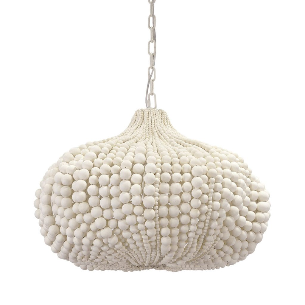 "In a cream finish and hand-sewn together, wood spheres style the ""Point Dume"" pendant from PALECEK. (palecek.com)"