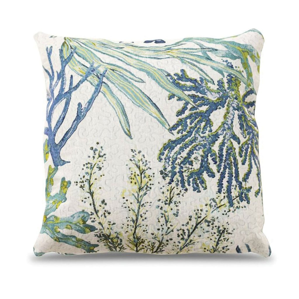 "ROSECLIFF HEIGHT's colorful ""Trevino Reef"" accent pillow exudes beachy chic. (wayfair.com)"