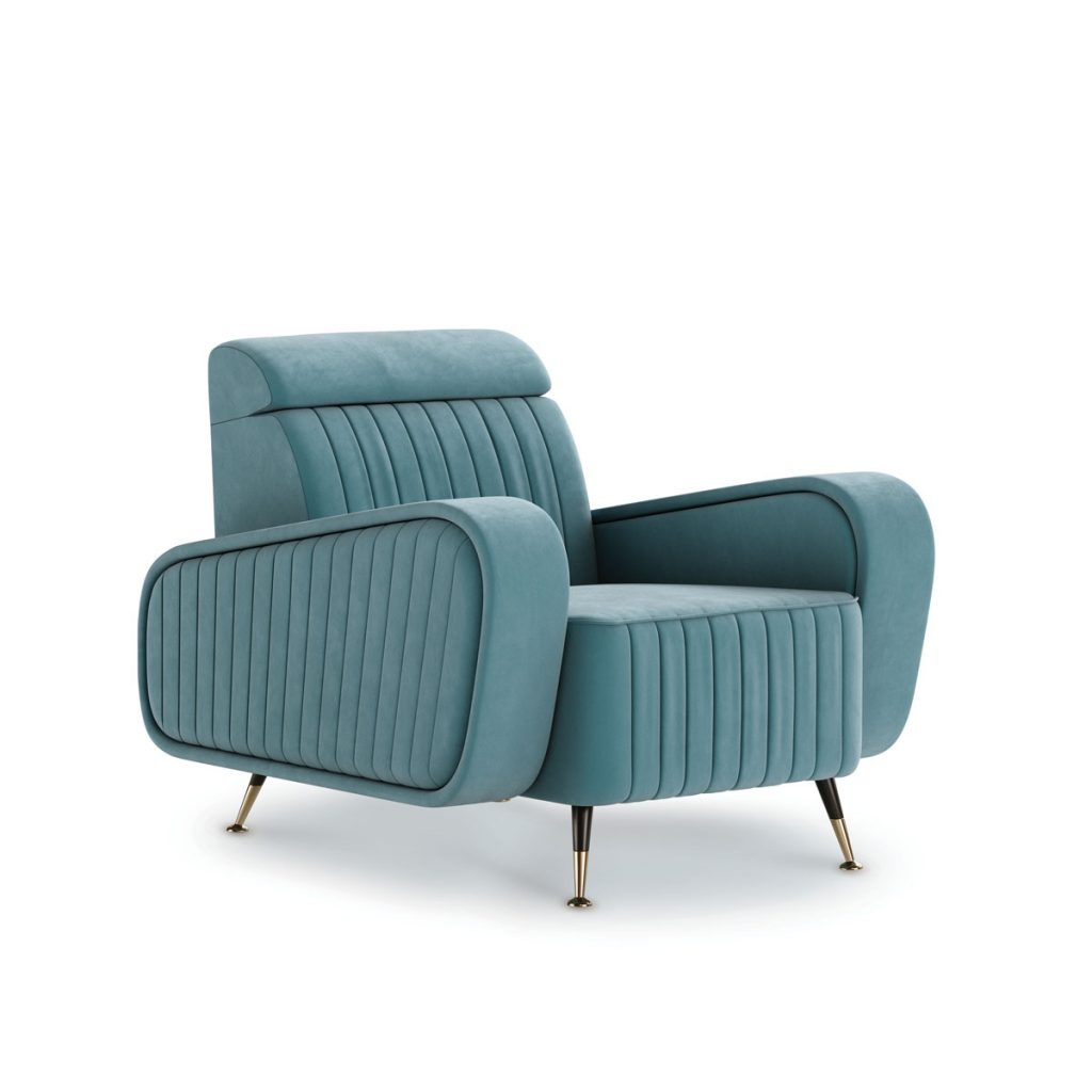 "A modern vision of midcentury style, the ""Harrison"" armchair from MEZZO COLLECTION brings back a true sense of vintage seaside charm. (mezzocollection.com)"