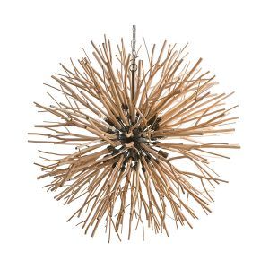 "Natural wood branches grow from the iron center of the ""Finch"" chandelier, an organic version of the starburst motif from Arteriors. (arteriorshome.com)"
