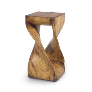 "Finished in tones that follow the twist and turns of nature, poly resin hand-cast from original carved wood shapes the ""Faux Wood Z"" stool by Palecek. (palecek.com)"
