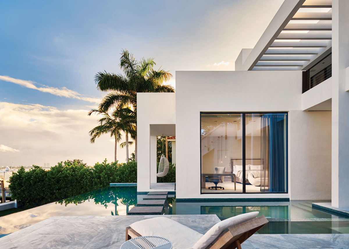 Reef Tropical's wrap-around lap and plunge pool was custom designed by Sinclair Engineering to provide the optimum in relaxation and rejuvenation. James Perse chaise lounges recline poolside, while Bonacina 1889's hanging nest chair from Glottman offers a meditative perch.
