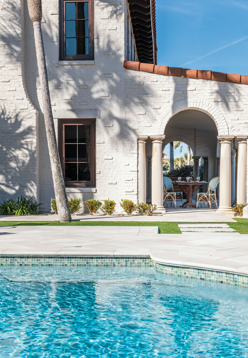 Designed to offer spectacular vistas for large-scale entertaining, the new loggia serves as an oceanfront porch that will play host to years of outdoor events. The turquoise hue of the pool was meticulously custom blended to match the outdoor lounge furniture.