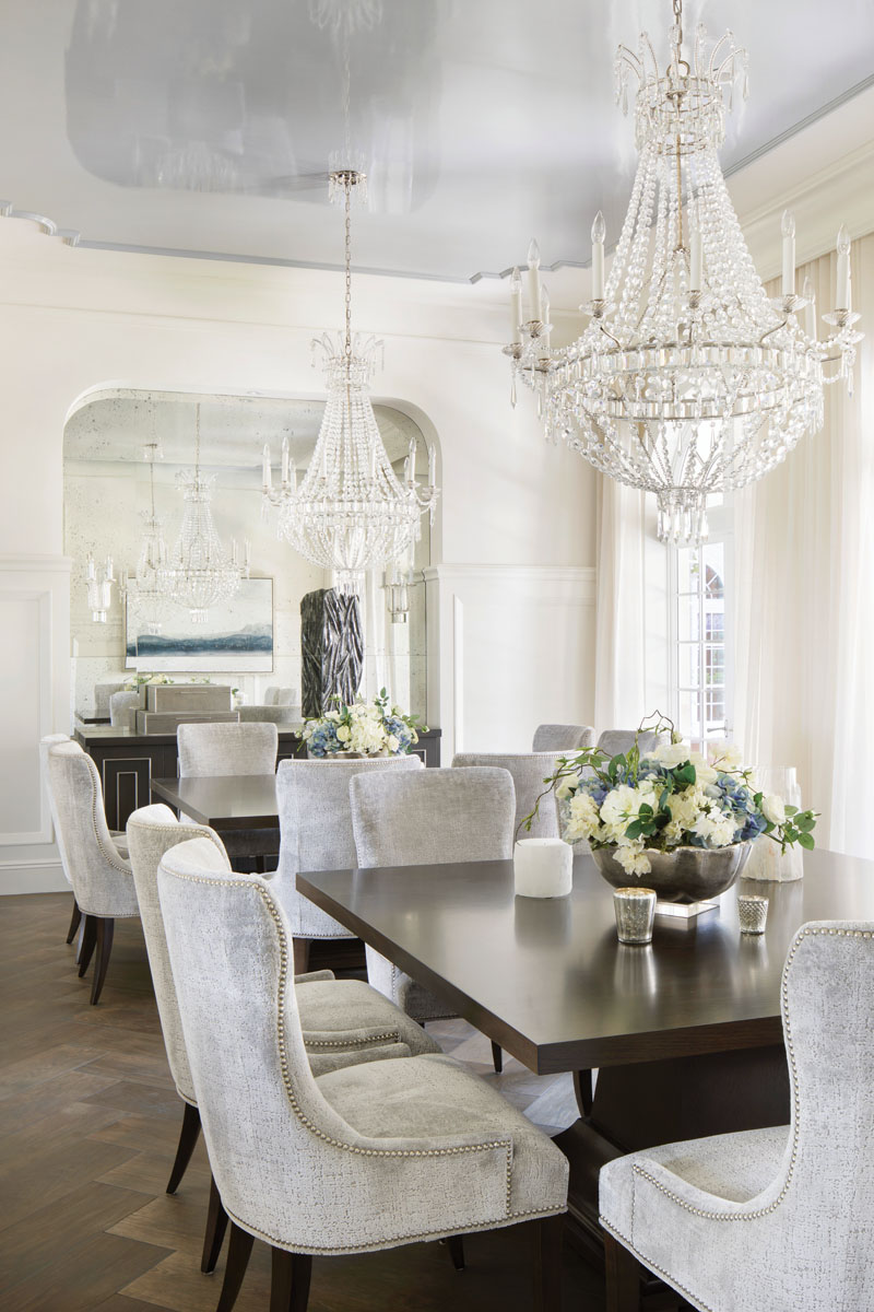 """We wanted crystal in the dining room, something with an iridescent quality, more of a cleaned-up traditional,"" senior interior designer Melissa Adair says."