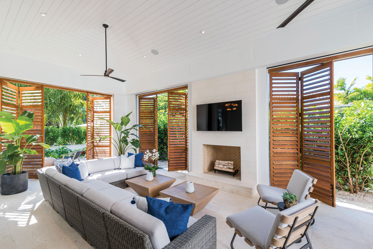 Sultry breezes flow through the lanai filled with aromatic scents of indigenous flora. The open-air space makes a tropical statement as plantation shutters fold to embrace the rhythmic balance and calming essence of the Zen garden beyond.
