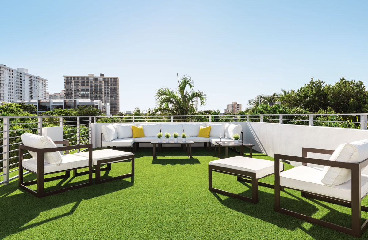 Modway furnishings are set to entertain on the rooftop terrace.