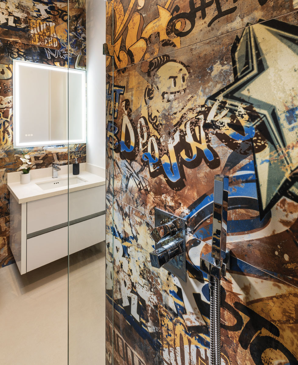 In the powder room, Ferguson's vanity floats in stark contrast to Somer's custom graffiti tile certain to become a showcase to be remembered. Lichi is unafraid of uncommon approaches or an unpredictable sense of style.