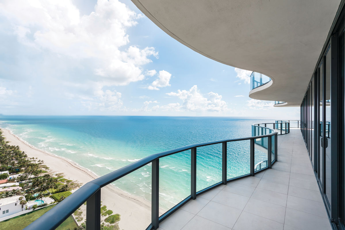 A wave-like 2,000-square-foot wraparound terrace attracted the homeowners to the Regalia, a unique, ultra-luxury condominium among Miami's plethora of beachfront luxury options.
