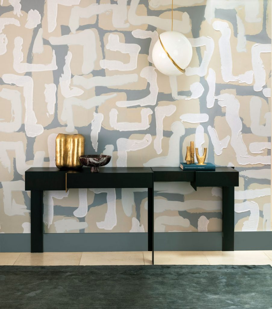 The Gypsum and Tilt patterns are inspired by shadows and traditional tiles of Chinese architecture. Hoppen's Bouclé and Tempo patterns are based on bold energetic brush strokes. courtesy de Gournay