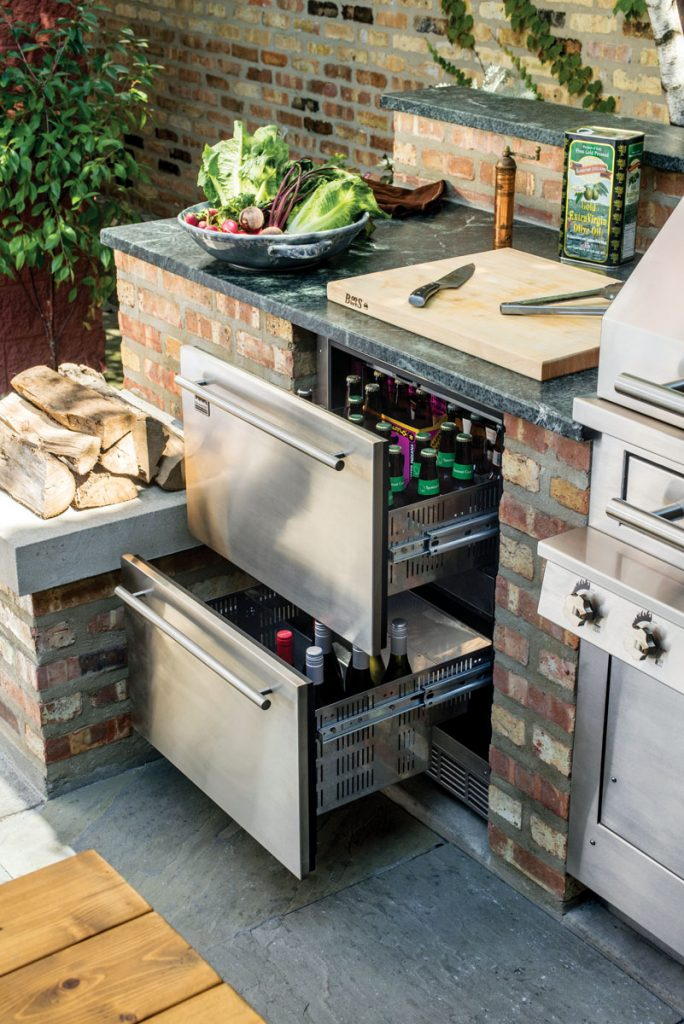 Keeping beverages and summertime snacks cool is a breeze with Kalamazoo's patio appliances