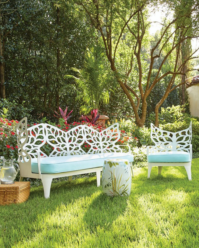 Let your dreams take flight in the Butterfly sofa and chair set from Horchow