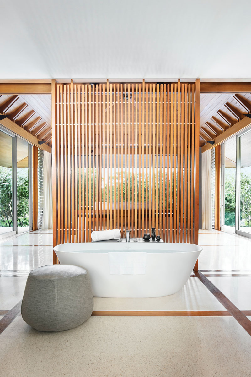 The Pond Pavilion bath is designed for both privacy and views. bottom right: The Tranquility Villa living room offers a beautiful space to retreat from the sun while remaining connected to nature.