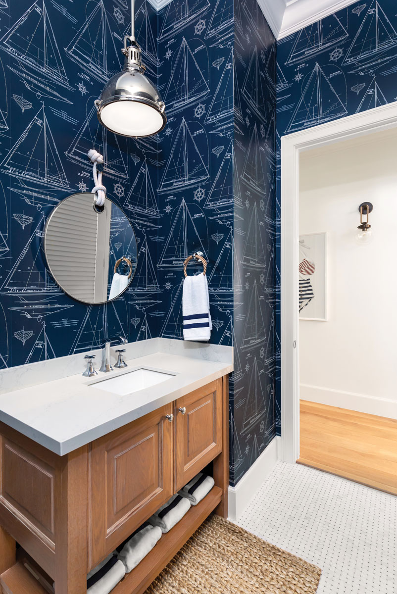 """""""A powder bath is a great place to be a little bolder with color or prints since they are smaller and seen by all guests."""" said Destin Barkley."""