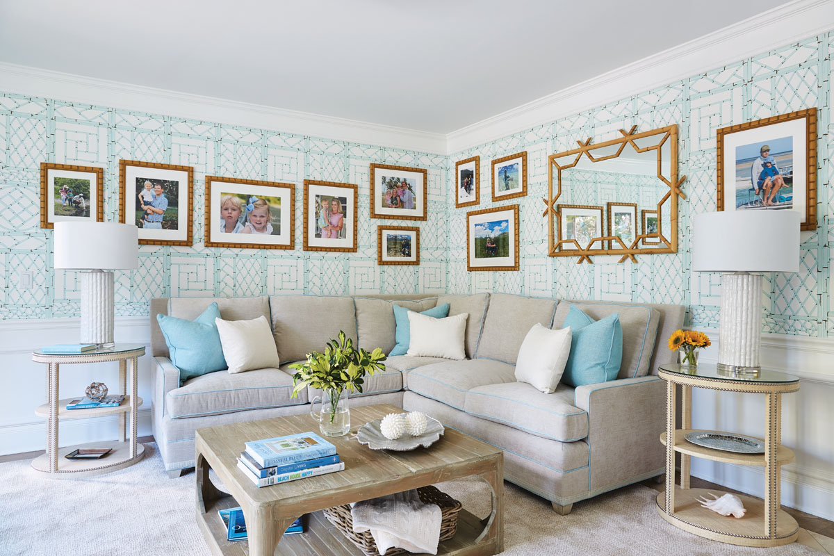 """Libby Langdon Vero 31-2GPhotography by Aric Attas, Creative """"My client loves the China Seas aqua wallpaper from Quadrille in the family room,"""" Langdon says. """"It was from one of her inspiration images, so we built the design around that."""""""