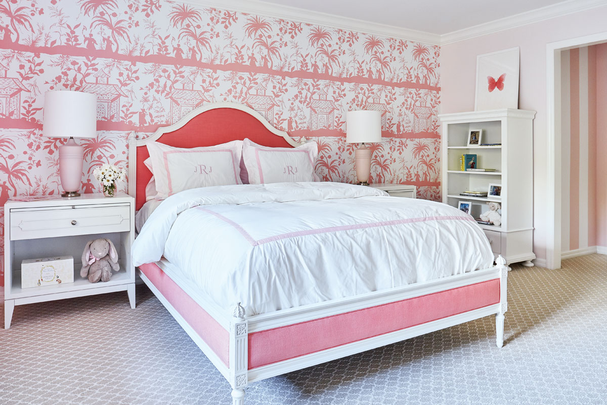 Libby Langdon Vero 31-2KPhotography by Aric Attas, Creative Think pink in the daughter's room, where Hickory Chair's bed upholstered in pink linen tailors the look.