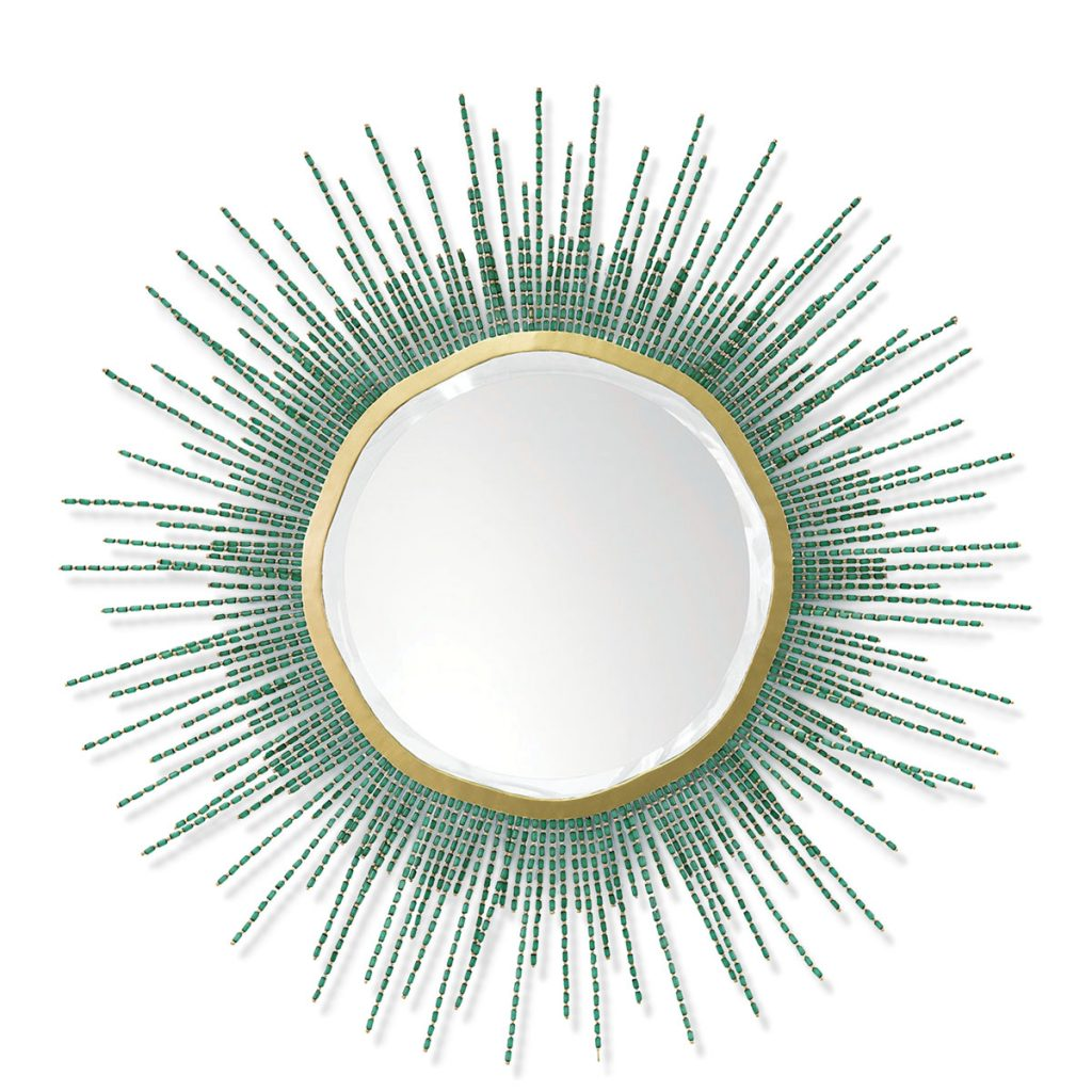 Reflect the ocean's tranquility with this embellished mirror by palecek, adorned with emerald green buri nut beads. palececk.com Sea Glass_FD31-2C