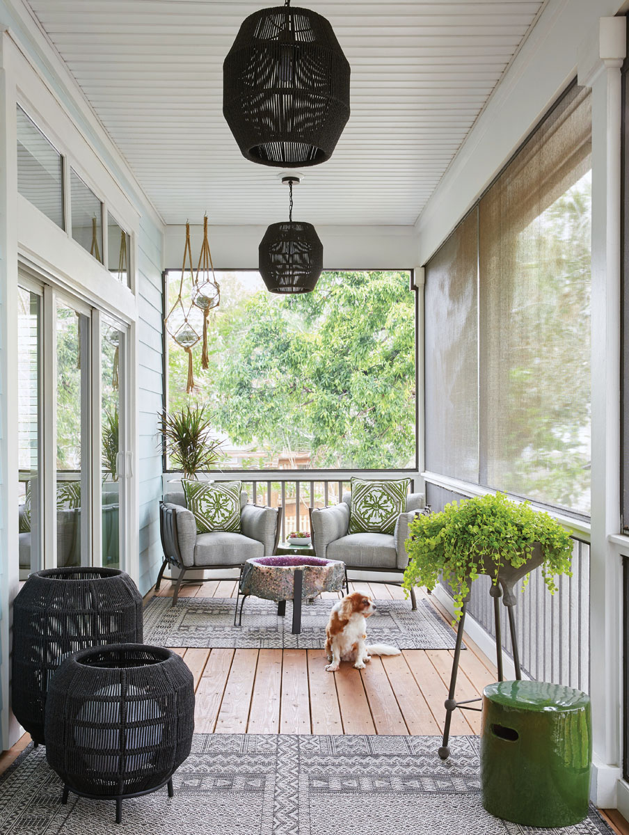 Robyn Branch_FD31-2G Photography by Zeke Ruelas Photography, Nashville, TN To create an outdoor oasis, Branch hung macramé globes, added greenery filled planters, and placed ultra- comfortable furniture on which the homeowner could relax—plus an amethyst geode coffee table for some earthy sparkle.