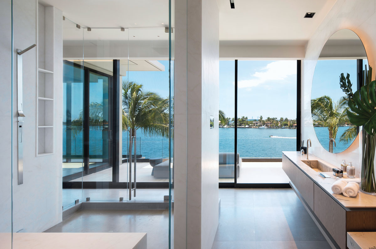 The spa-like master bath is elegantly designed with Boffi vanities that appear to float.