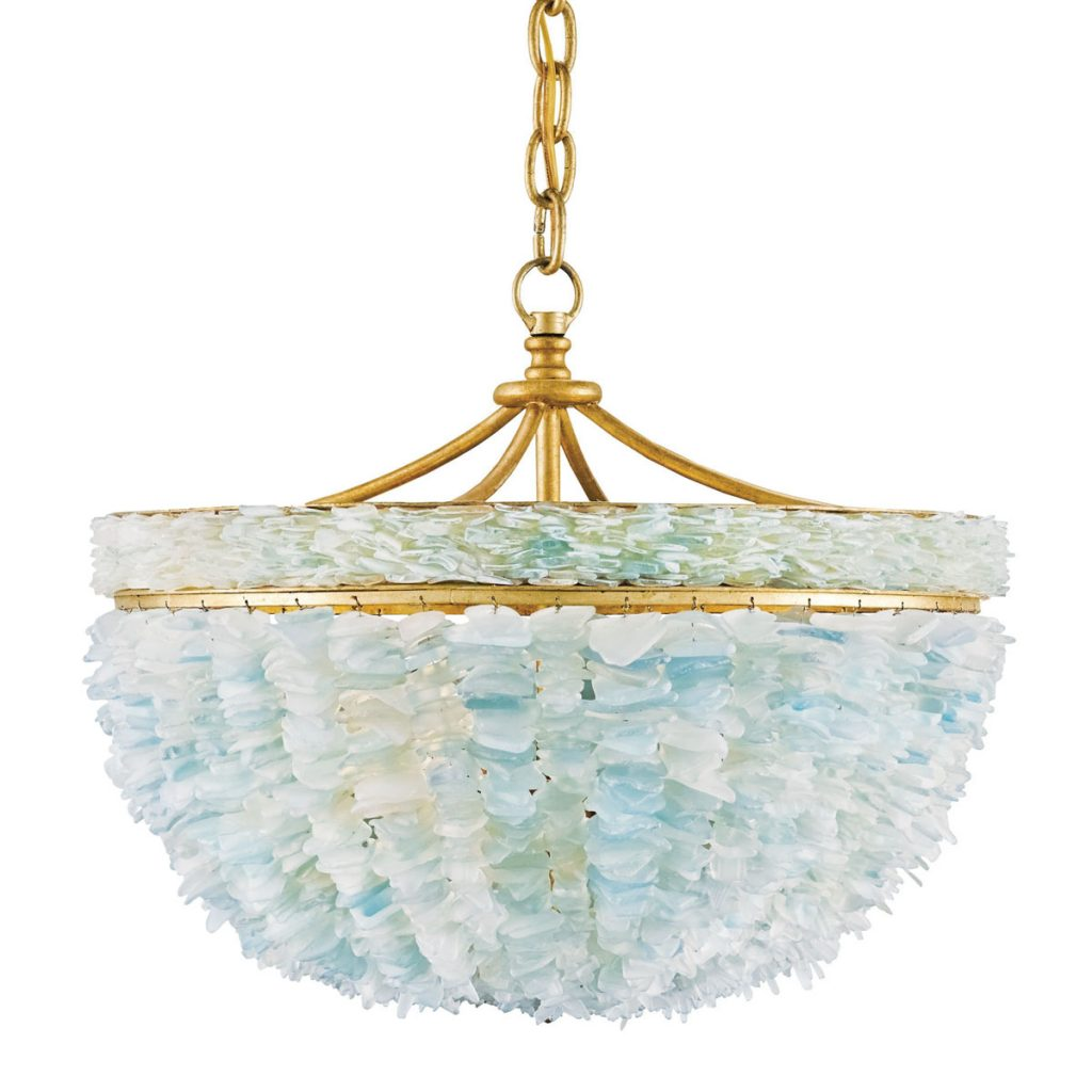 currey & company's Bayou pendant is crafted from tumbled glass fragments in seafoam and aqua. curreyandcompany.com Sea Glass_FD31-2B