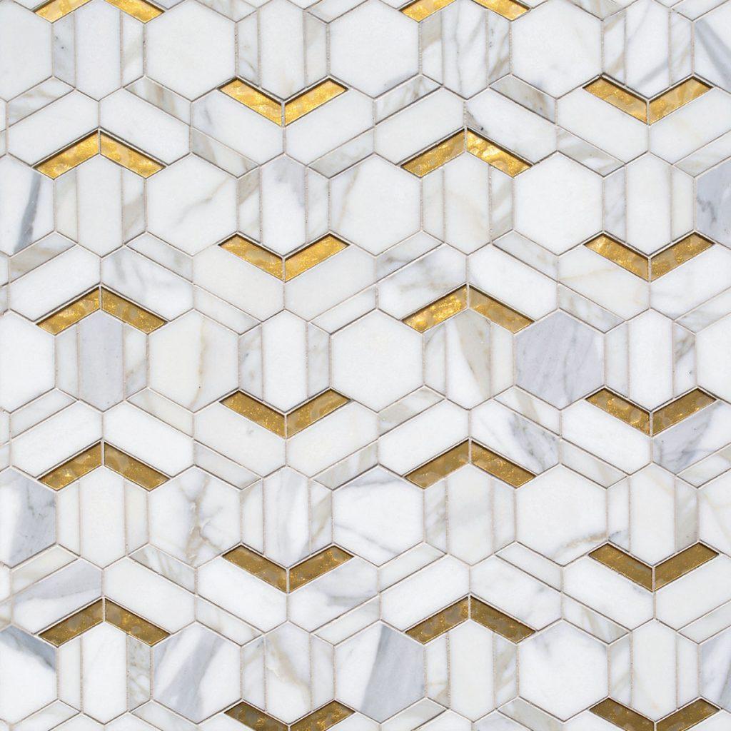 Calacata marble and 24-karat gold glass tile by Ceramic Matrix, Bath Deluxe_FD31-2E