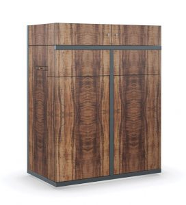 Caracole's Top Shelf bar cabinet closed, Setting the Bar_MIA17-2A