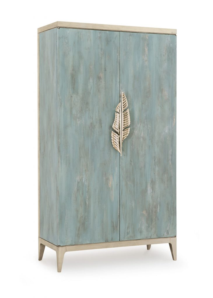 Keep clutter behind closed doors with Caracole's Watercolours cabinet featuring a palm frond door pull., Foliage Inspired_FD31-2C
