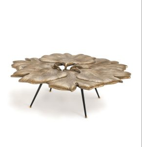 Layers of brass Ginko leaves form the Bilboa table by Eichholtz, Foliage Inspired_FD31-2E