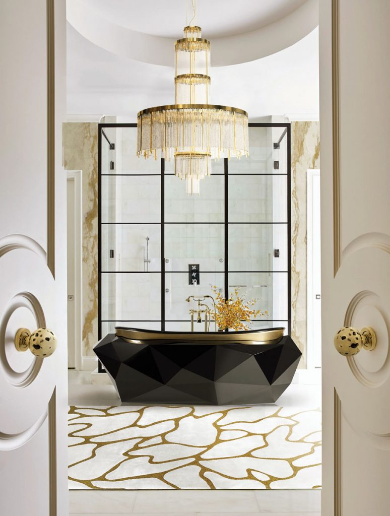 Meteor doorknobs by Pullcast invite you into a world of glam details. Bathe in pure luxury in Maison Valentina's Diamond tub, Bath Deluxe_FD31-2B