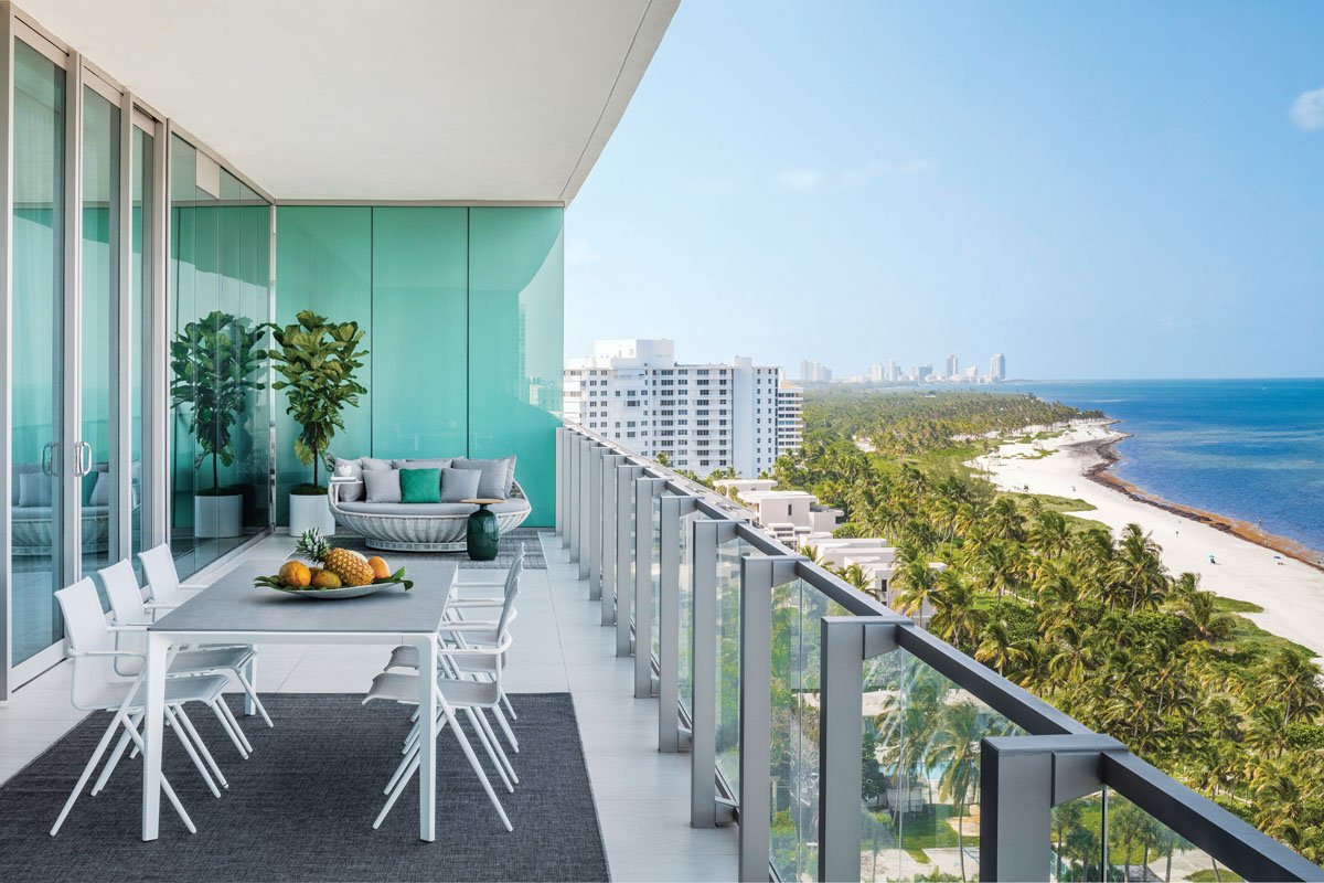 The homeowners left Brazil to make Miami their permanent home. Like their designer, Jessica Jaegger, also Brazil-born, they say the air, the water, the colors, and the attitude toward living feels familiar here. Yet their thoroughly Brazilian aesthetic remains strong.