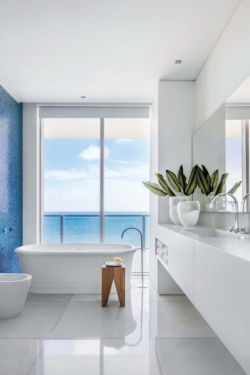 Recipe for contentment: his and hers master baths. Made for refreshing the soul, the vessel tub (arced by an elegant water spout) is a place for contemplation.
