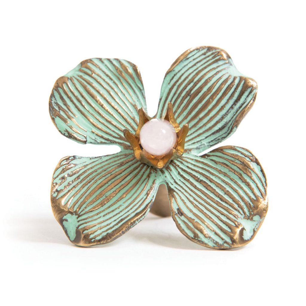 This Dogwood knob from Modern Matter features semi-precious gemstones.Jewel-Like Hardware_FD31-2C