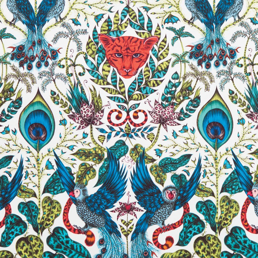 Animalia from Kravet x Emma J. Shipley invites an exotic menagerie of parrots, lemurs, tigers, and giraffes home to roost.Walls on the Wild Side_MIA17-2A