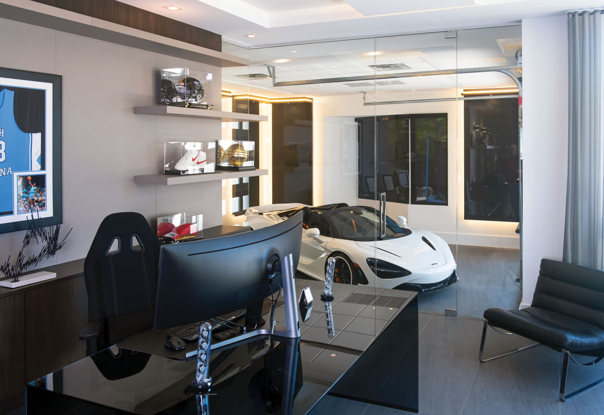 The homeowner can conduct business in his private office and find a kind of Zen contentment with a turn of his head—or a turn of his car on its bespoke rotating platform.