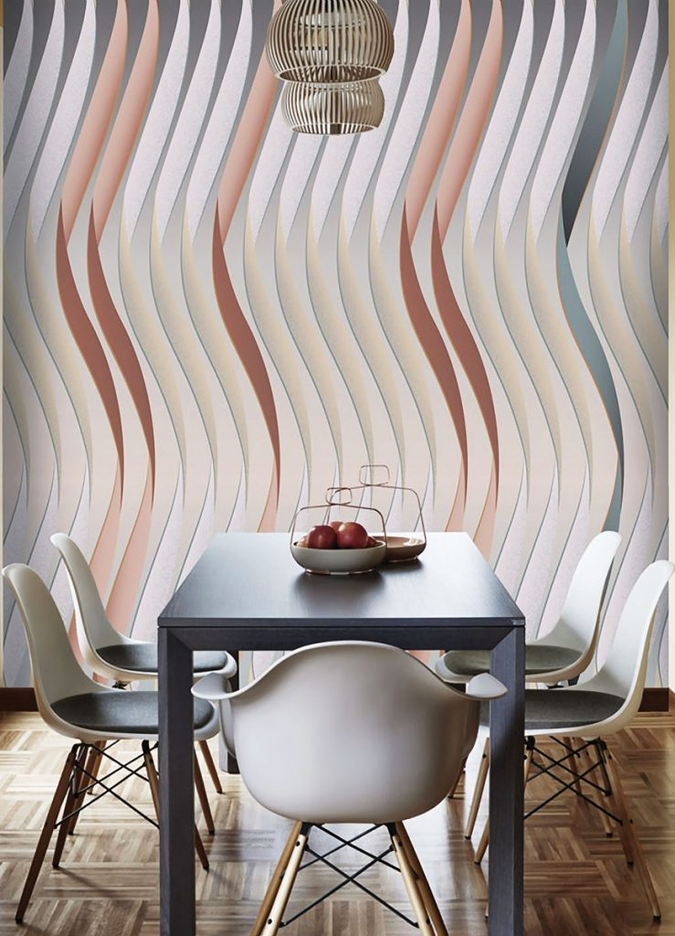 Inspired by cascading ribbons, the Spiral pattern from Artemest x Mae Engeleer is printed on vinyl in soft grays and pinks.Walls on the Wild Side_MIA17-2C