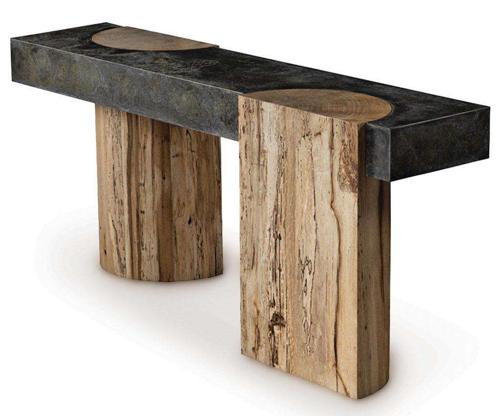 Made of hand-selected Palografico wood, the Legno console from TARACEA USA showcases one-of-a-kind rustic texture. taracea.com