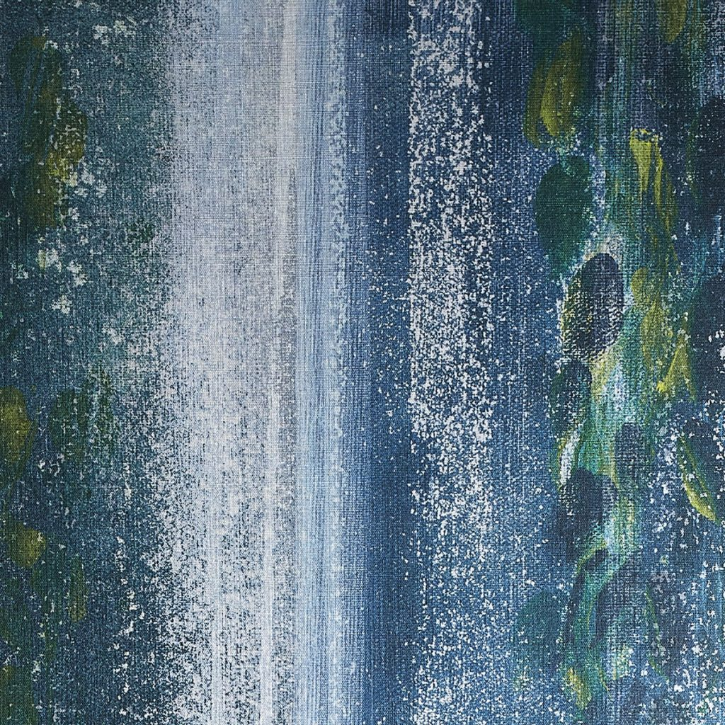 Phillip Jeffries' Waterfall pattern soothes in cascading hues of blue and green.Walls on the Wild Side_MIA17-2D