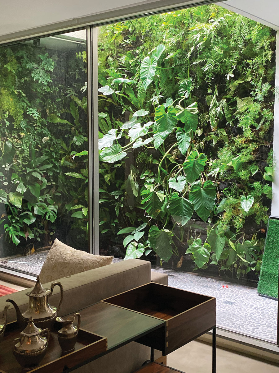 """Gutierrez says the popularity of her vertical gardens took off during the pandemic. """"People really felt the necessity of having a garden, regardless of available space. I had clients who opted to build out the garden instead of renovating their living rooms or bathrooms,"""" she says."""