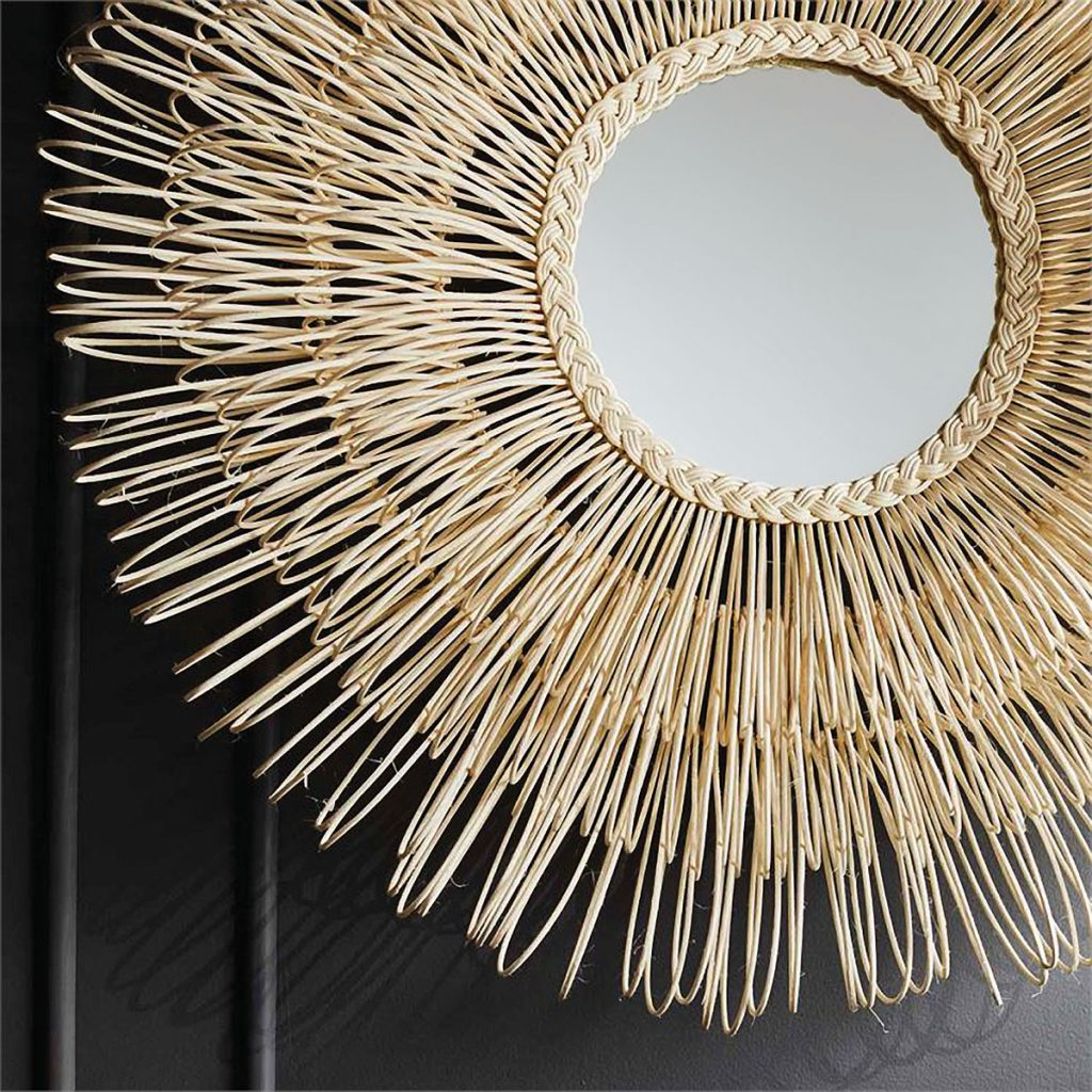 Hand-looped rattan fibers encircle the Adeera mirror by Made Goods, Reimagined Rattan_FD31-3B