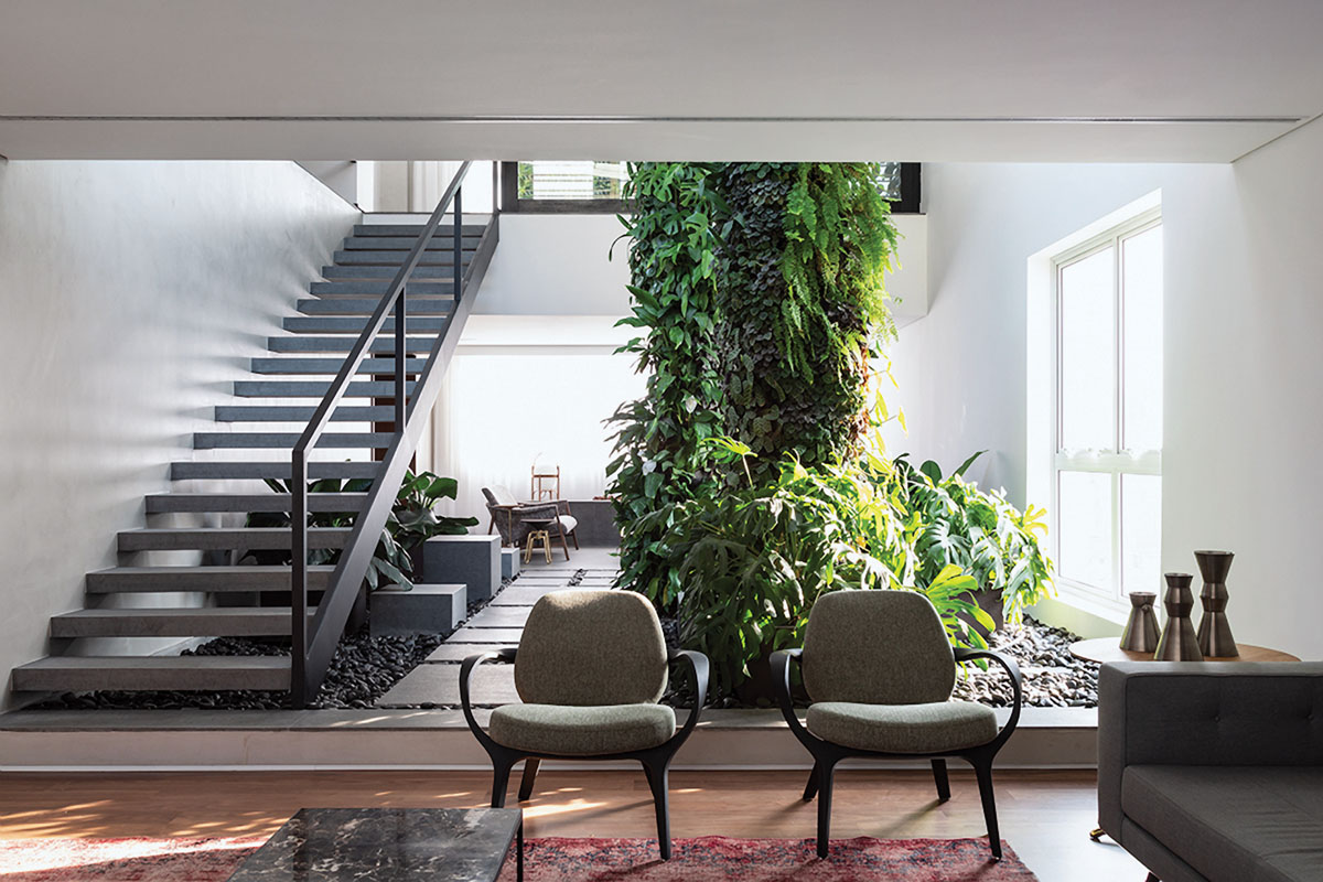 Gardens purify and humidify the air and help people reconnect to nature. They have also been shown to lower air temperature, which translates to reduced air conditioner capacity. Interior column, VerdeVertical_FD31-3I