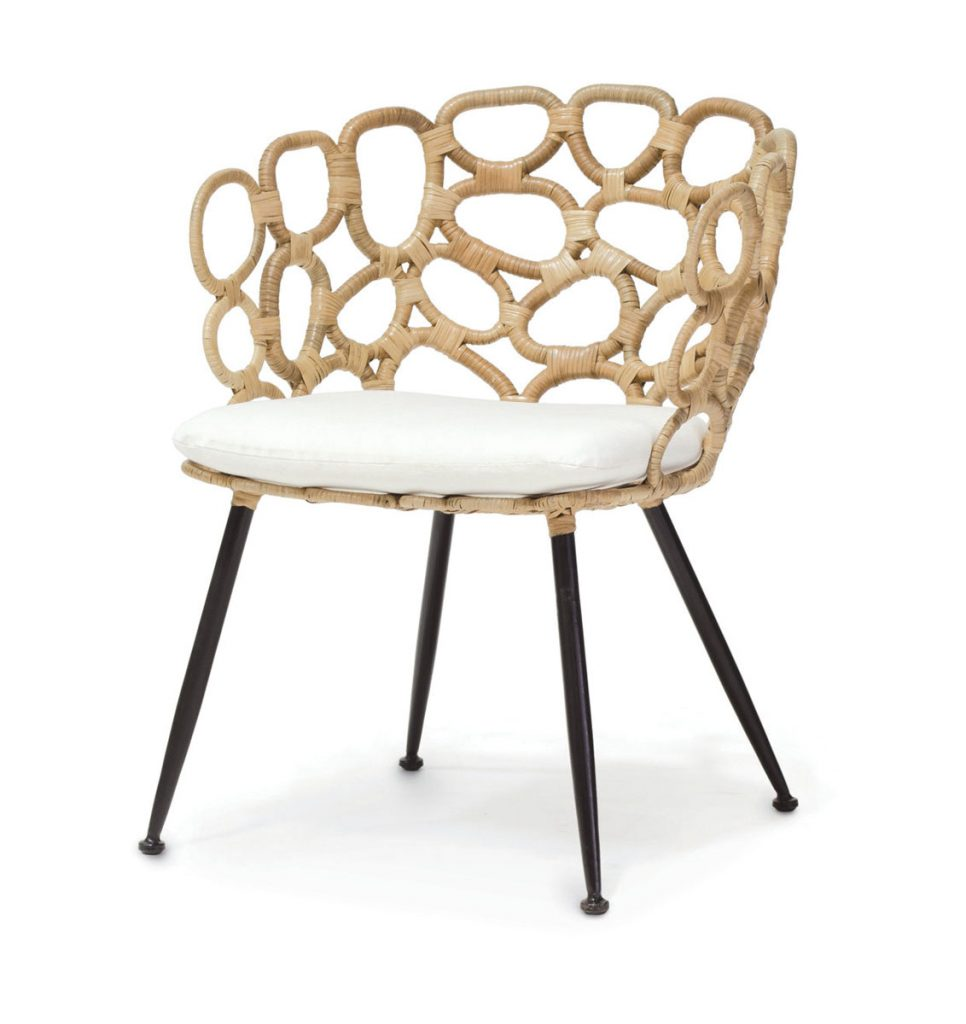 Made from split rattan, Palecek's Ella occasional chair brings organic texture to any seating arrangement, Reimagined Rattan_FD31-3E