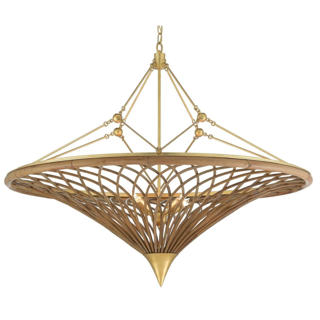 Rattan reeds are woven around a wrought iron frame to form the Gaborone chandelier by Currey & Company, Reimagined Rattan_FD31-3A