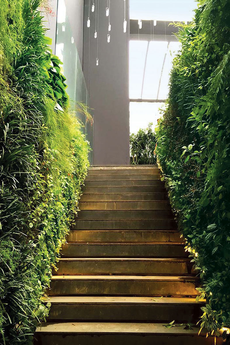 The installation materials themselves are two inches thick and can be added to almost any wall space—like this stairway. Verde Vertical_FD31-3E